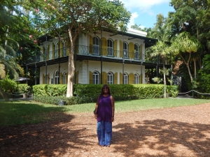 Patricia at the Ernest Hemingway house during a stop in Key West